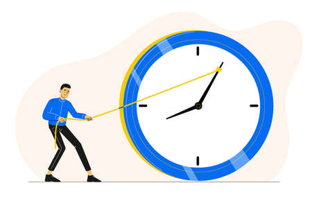 Deadline or time management concept. Sad or stressed man or employee or office worker pushing minute hand of broken clock towards anti clockwise. Running out of time. Vector character illustration