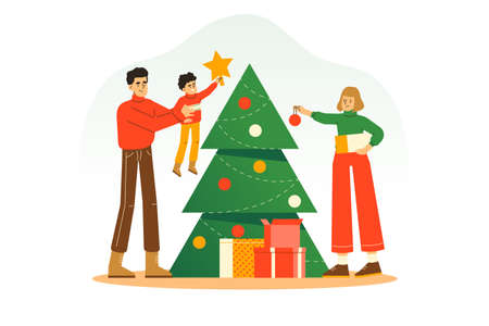 Family decorating Christmas Tree together, celebrating Christmas and New Year holiday 2021. Colorful flat vector illustration for poster, greeting card, web, ui