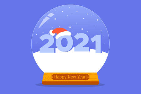Number 2021 in Snow Globe with santa hat. Christmas and New Year concept. Colorful flat vector illustration for poster, greeting card, web, banner