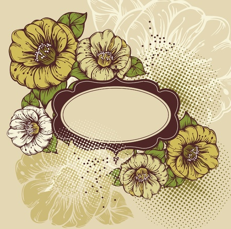 youth culture: Beautiful flowers with a vintage frame