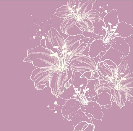 dessin fleurs: fond floral avec lys en fleur