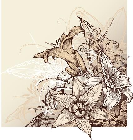 schets: florale achtergrond met bloeiende lelies