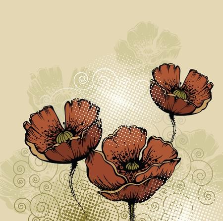 fleurs des champs: fond floral avec des coquelicots fleurissent Illustration