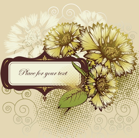 yellow wildflowers: Floral background with cornflowers and frame