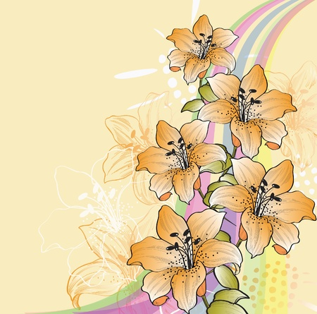 Floral background with lilies and rainbow eps10. Vector