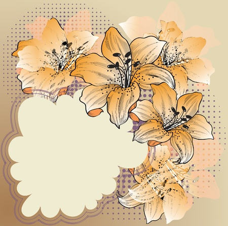 floral background with lilies eps10  Vector