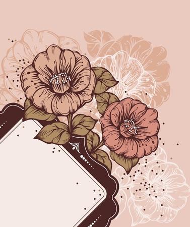 flower concept: floral frame with rich flowers Illustration
