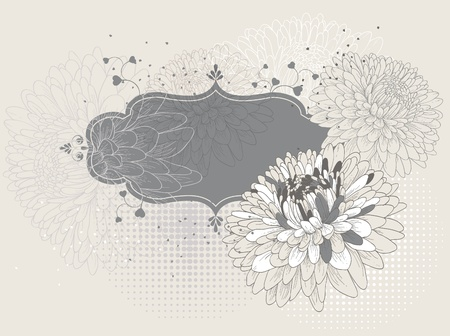 Frame with blooming chrysanthemums eps10. Vector
