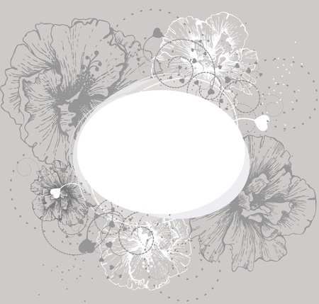 stench: Round frame with hibiscus Illustration