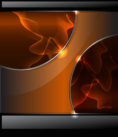 Abstract background with orange smoke and glossy banner