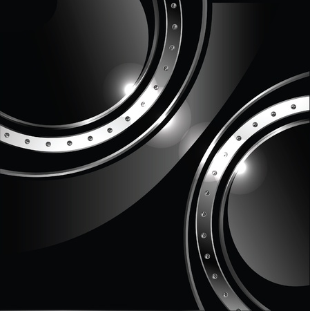 Abstract background with round glossy banner and metal bolts, vector Vector