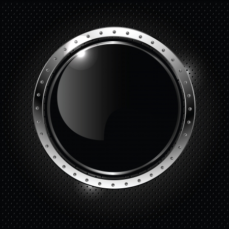 Abstract metallic background with round glossy banner, vector. Иллюстрация