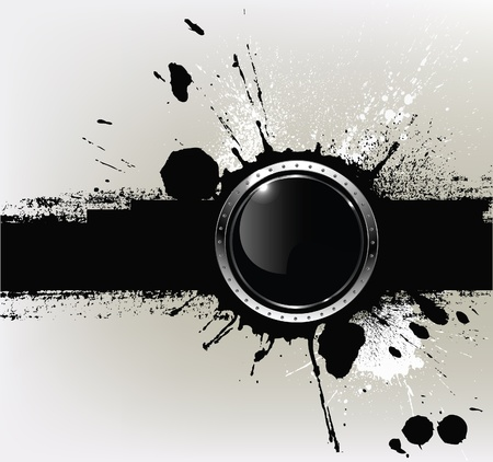 Abstract textured background with a with round glossy banner, vector