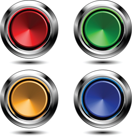 chrome ball: Set of colored buttons with chrome stroke