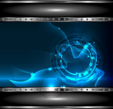 Technology background with metallic banner, vector Illustration