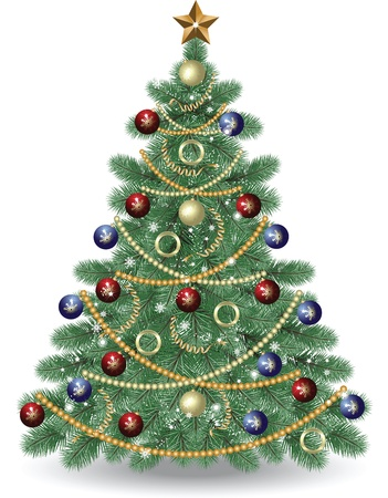 white clip: Christmas Tree. Illustration