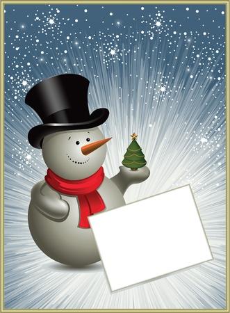 Christmas frame with a snowman. Vector