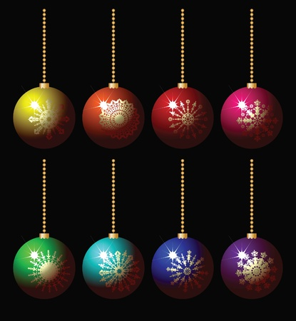 set of balls with snowflakes Vector
