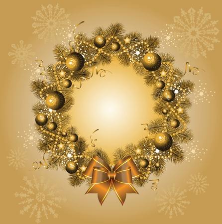 isolated background objects: christmas wreath. Illustration