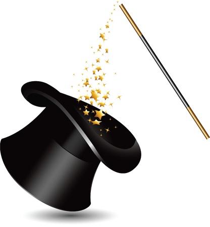 mago: Magic sombrero y varita con destellos.