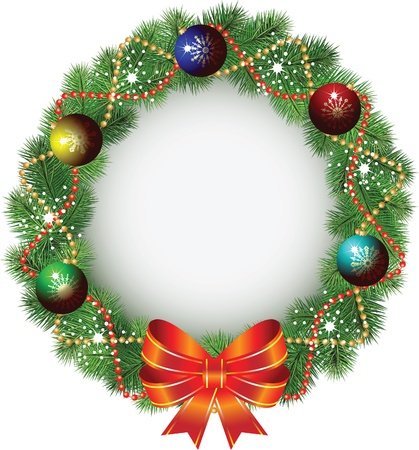 christmas scroll: christmas wreath. Illustration