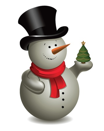Snowman with Christmas tree Stock Vector - 11651156