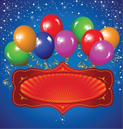welcome party: De fondo festivo con globos de colores Vectores