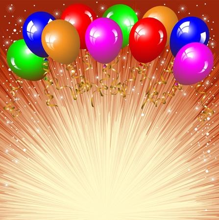 verjaardag ballonen: Feestelijke achtergrond met kleurrijke ballonnen. Stock Illustratie