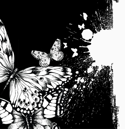 Abstract background with butterflies and ink blots. Vector illustration. Vector