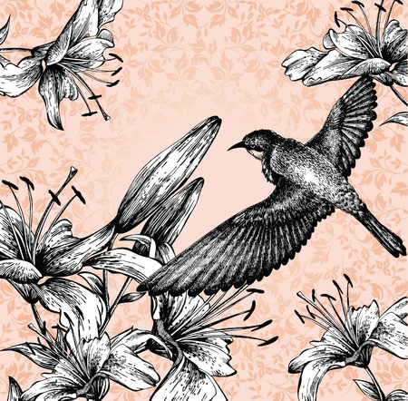 Background with a flying bird and blooming lilies hand drawing. vector.