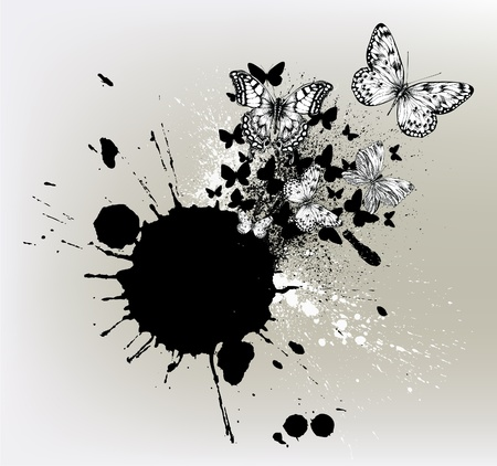 butterflies flying: Background with ink spots and flying butterflies.
