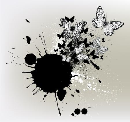 spatters: Sfondo con macchie di inchiostro e farfalle che volano.