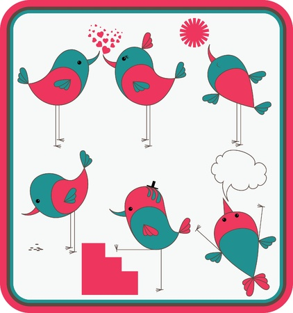 Set of stylized birds. Nice elements for scrapbook, greeting cards, Valentine Vector