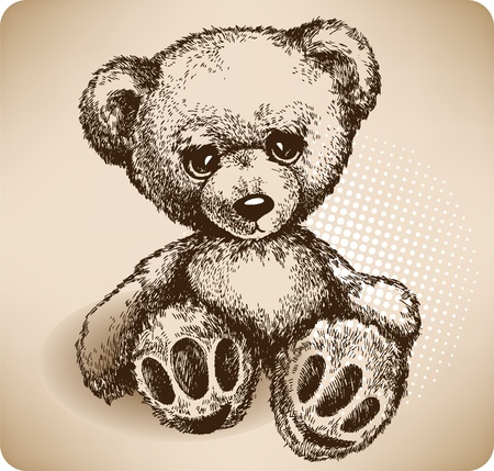 soft toy: Teddy Bear Hand drawing. Illustration