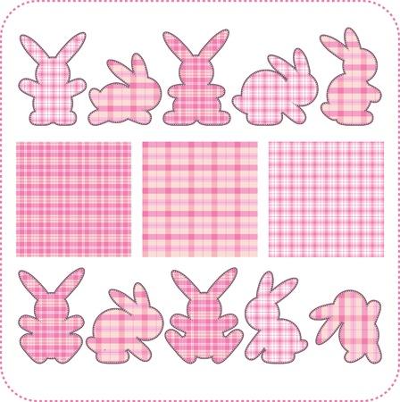 Ten pink rabbits. Beautiful elements for scrapbook, greeting cards  Иллюстрация