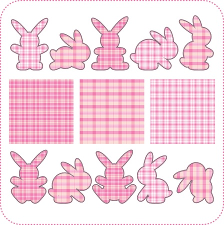 patchwork: Ten pink rabbits. Beautiful elements for scrapbook, greeting cards  Illustration