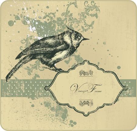 leaf line: Vintage frame with bird, hand-drawing. Vector illustration.