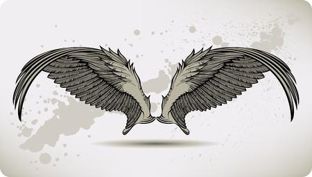 Wings Griffon, hand drawing. Vector illustration. Иллюстрация