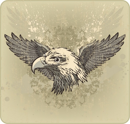 Vintage emblem with an eagles head and wings. Vector illustration