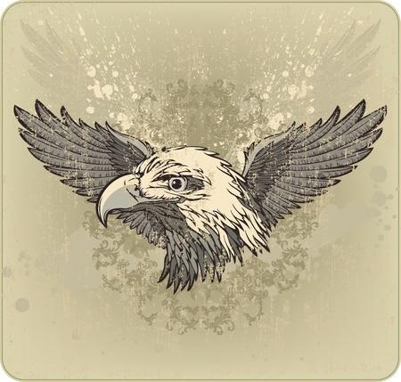 grunge wings: Vintage stemma con la testa d'aquila e le ali. Vector illustration Vettoriali