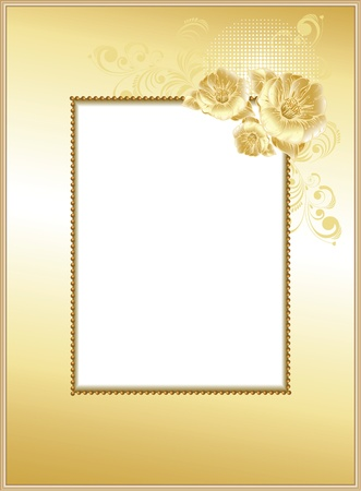 gold swirls: frame-background with flowers Illustration