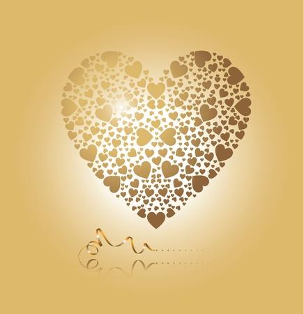 corazon: corazón de oro Vectores