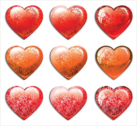 set of hearts. Vector