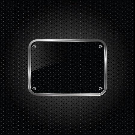 dark fiber: Glanzend zwarte plaat op een metalen achtergrond.