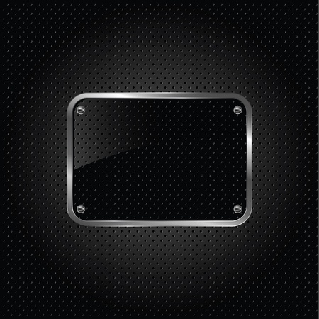 3d carbon: Glossy black plate on a metallic background.