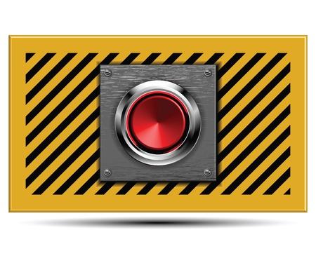tablero de control: El bot�n de lanzamiento en el acero blindado. Vectores