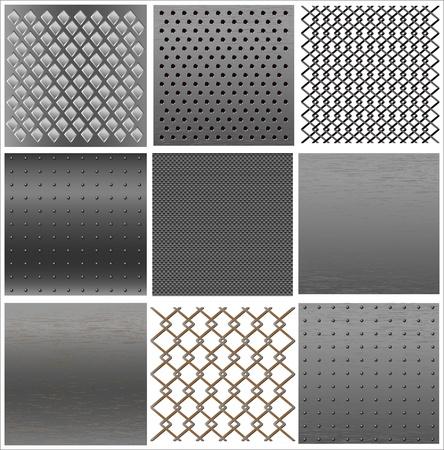 malla metalica: configurar la textura de hierro. Vectores