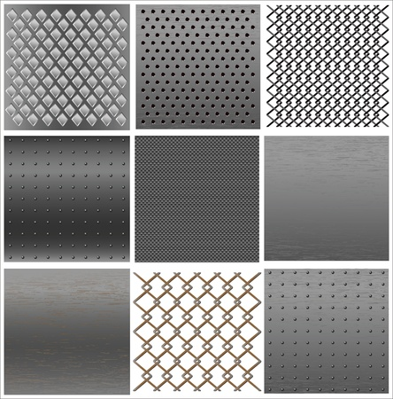 grille: set texture of iron. Illustration