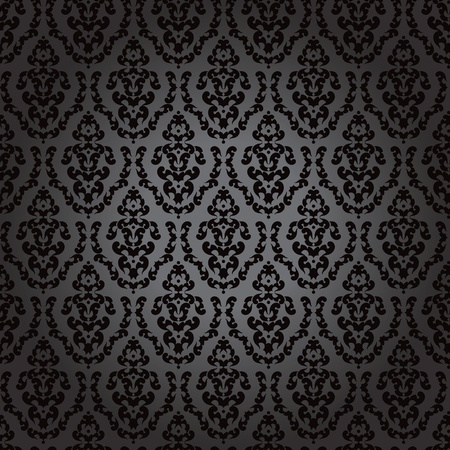 Seamless wallpaper baroque black Stock Vector - 12005776