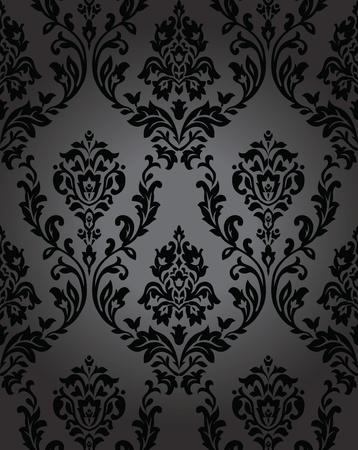 antiek behang: Naadloze behang barok zwart Stock Illustratie